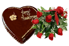 Heart Shaped Chocolate Cake with Red Roses Bouquet
