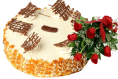 Butterscotch Cake (1 kg) with Red Roses Bouquet