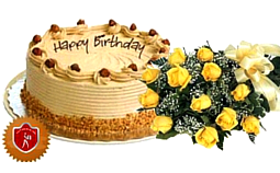 Butterscotch Cake (1 kg) with Yellow Roses Bouquet