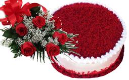Red Velvet Cake & Six Red Roses Bouquet