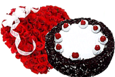 Heart Shaped Bouquet and Black Forest Cake