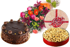 Chocolate Cake, Cashew Nuts and Mixed Flowers