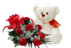 Red Roses Bouquet and Teddy Bear