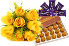 Yellow Roses, 25 Laddus and Chocolates